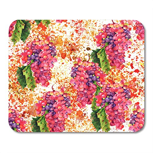 (Semtomn Gaming Mouse Pad Vintage Watercolour Drawing of Vibrant Bunch Wine Grapes Green 9.5