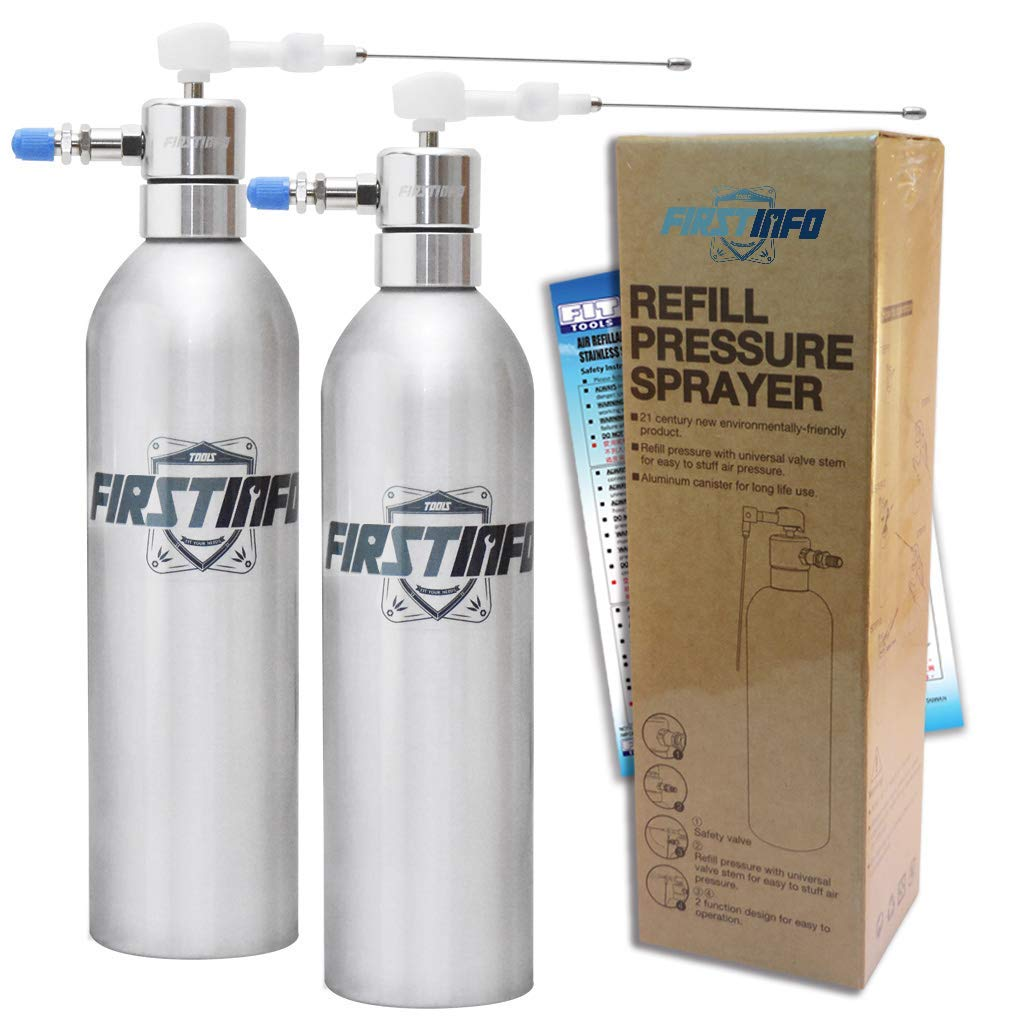 FIRSTINFO 2 Sets Aluminum Can Pneumatic/Manual Refillable Fluid/Oil Pressure Storage Sprayer + Jet