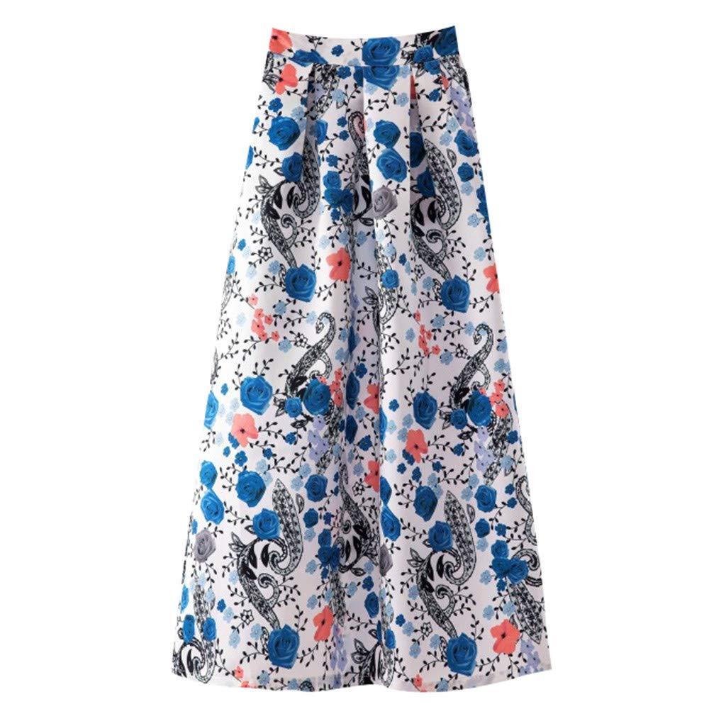 Sayhi Ladies Printed Casual Skirt Retro Big Swing Skirt Spring and Summer Long Skirt for Women Maxi(Light Blue,XXL)