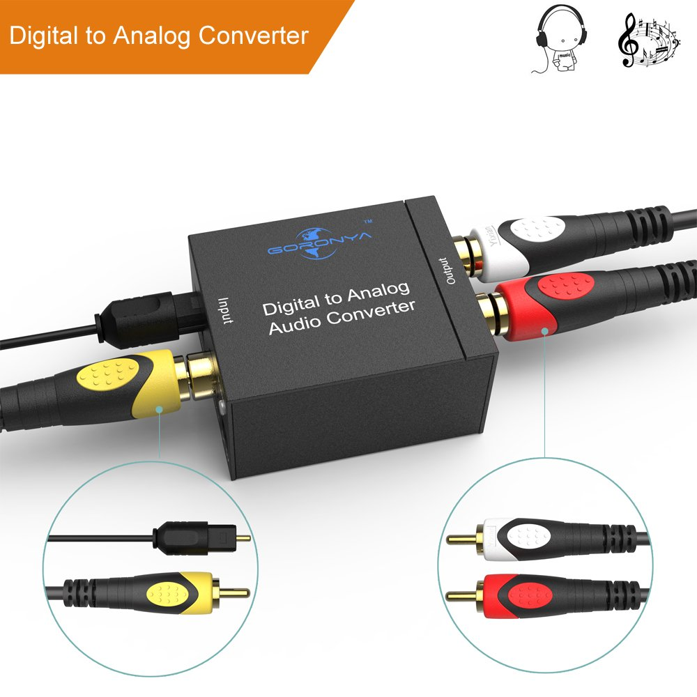 Goronya Digital Optical Coax to Analog RCA Audio Converter and 3.5mm (Headphone) Outpouts, 24-bit DAC with DC 5V Power Supply Adapter and Optical cable