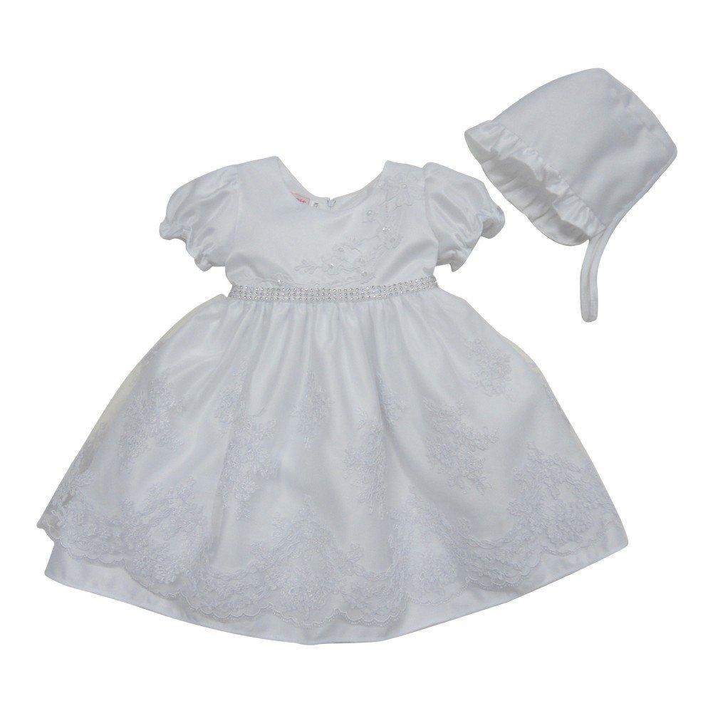 Baby Girls White Glitter Accent Satin Organza Bonnet Christening Gown 3-12M
