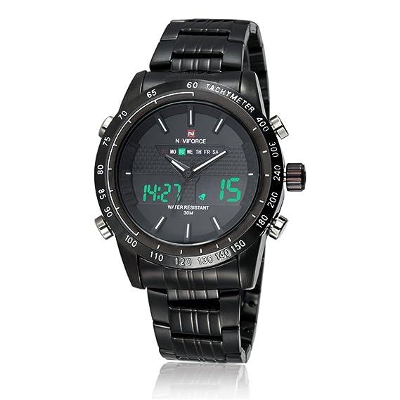 El mundo de la moda es analógico Digital NAVIFORCE de los hombres de acero inoxidable reloj