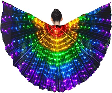 iMucci LED Alas ISIS Ropa de Rendimiento Disfraces de Danza del Vientre con Palos