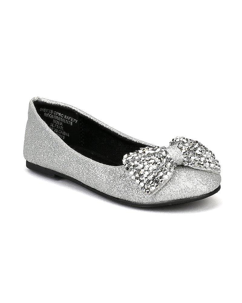 Size: Little Kid 13 SODA Easier-2S Glitter Beads Bow Ballerina Loafer Flat Toddler//Little Girl//Big Girl Silver AD86