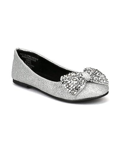 6bd8e05393 SODA Easier-2S Glitter Beads Bow Ballerina Loafer Flat (Toddler/Little  Girl/Big Girl) AD86 - Silver
