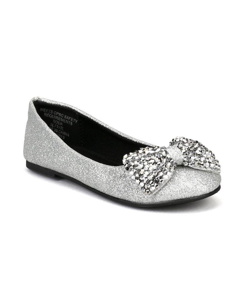 Soda Easier-2S Glitter Beads Bow Ballerina Loafer Flat (Toddler/Little Girl/Big Girl) AD86 - Silver (Size: Little Kid 2)