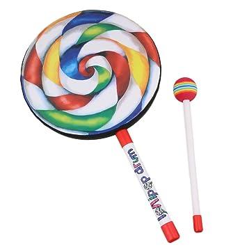 """6/"""" Lollipop Drum Mallet Music Rhythm Instruments Kids Baby Children Playing Toy"""