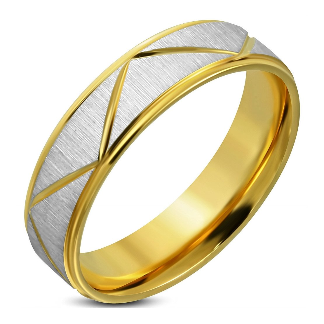 Stainless Steel Satin Finished 2 Color Lighting Bolt Step-Edge Comfort Fit Wedding Flat Band Ring