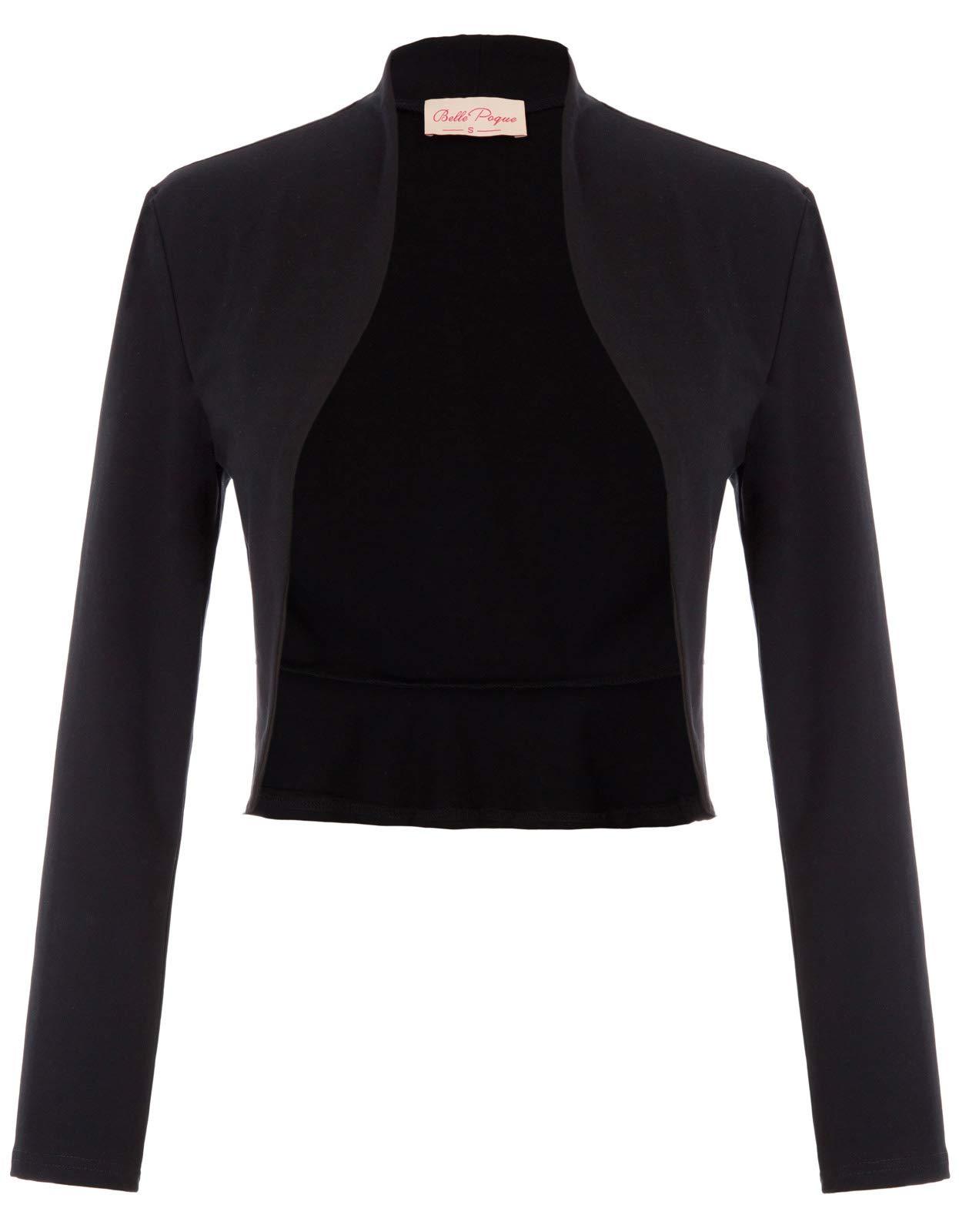 Lady Long Sleeve Cropped Shrug Bolero Cover-up (M,Black 788)