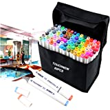 Togood 80 Different Colors Art Sketch Twin Marker Pens,Dual Tips Broad Fine, Professional Marker Set for Coloring Painting, White rod For Animation Manga Design