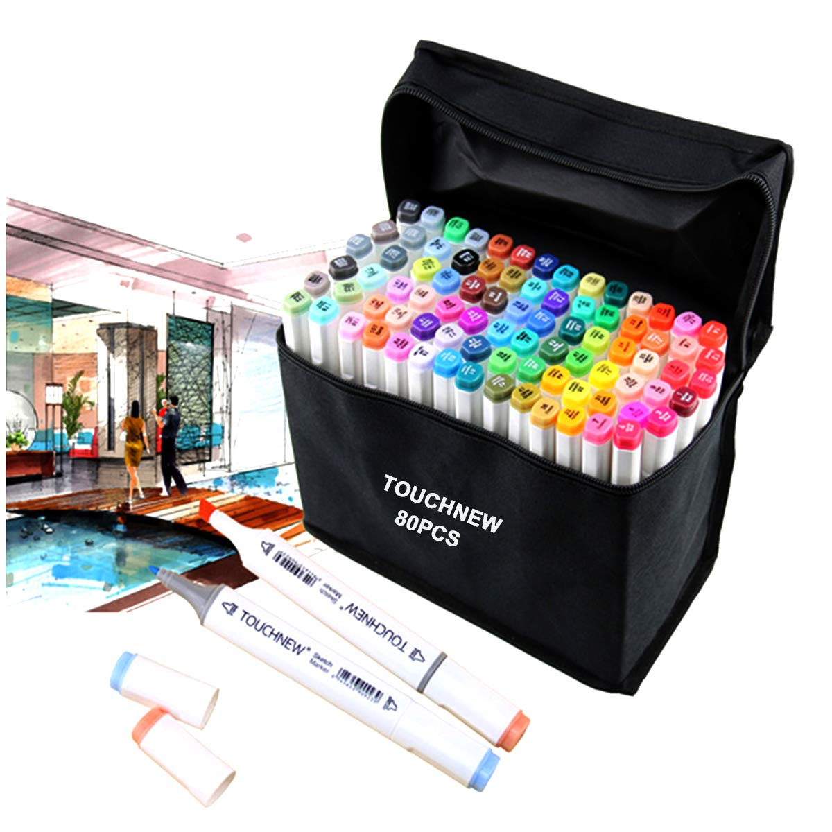 Togood 40 Different Colors Art Sketch Twin Marker Pens,Dual Tips Broad Fine, Professional Marker Set for Coloring Painting Manga Design MallMall