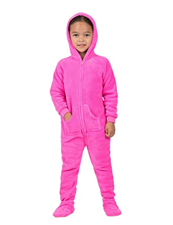 a218cff8e6d9 Amazon.com  Footed Pajamas - Perfect Pink Toddler Hoodie Chenille ...
