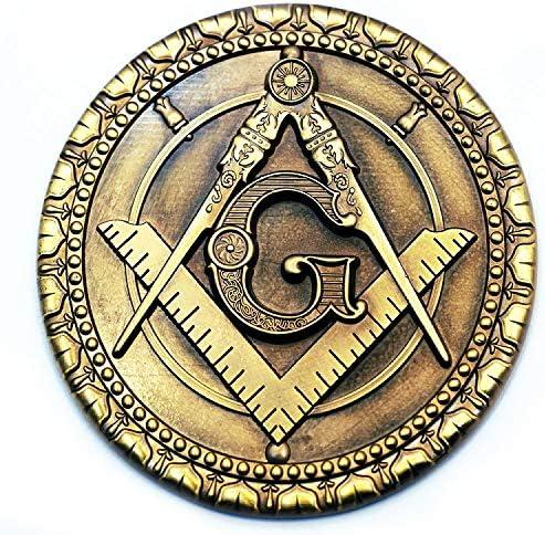 Square & Compass Round Masonic Auto Emblem - [Antique Brass][3`` Diameter]