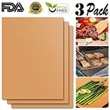 JiaHui Grill Mat Set of 3 - 100% Non-stick BBQ Grill Mats - FDA-Approved, PFOA Free, Reusable and Easy to Clean - Works on Gas , Charcoal , Electric Grill and More - 15.75 x 13 Inch (Bronze)