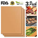 Cheap JiaHui Grill Mat Set of 3 – 100% Non-stick BBQ Grill Mats – FDA-Approved, PFOA Free, Reusable and Easy to Clean – Works on Gas , Charcoal , Electric Grill and More – 15.75 x 13 Inch (Bronze)