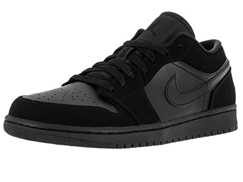 0b9085b90407 NIKE Mens Air Jordan 1 Low Black Leather Trainers 10 US
