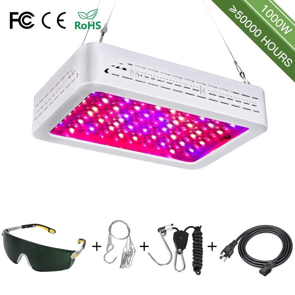 1000W LED Grow Light Full Spectrum for Indoor Plants Veg and Flower LED Grow Lamp Triple-Chips LED (100pcs 10w led)