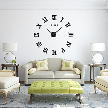 Awesome FAS1 Modern DIY Large Wall Clock Big Watch Decal 3D Stickers Roman Numerals  Wall Clock Home