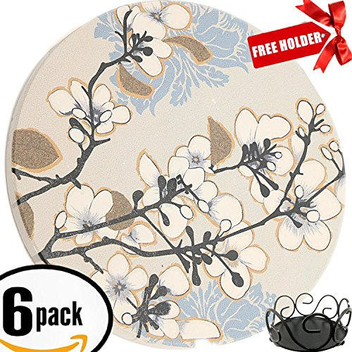 Metal Coaster Holder (ENKORE Ceramic Coasters Dogwood Branch Design - 6 Pack of Furniture Friendly Absorbent Stones Come With A Free Holder - Cozy Home Accent Decoration For Drinks)