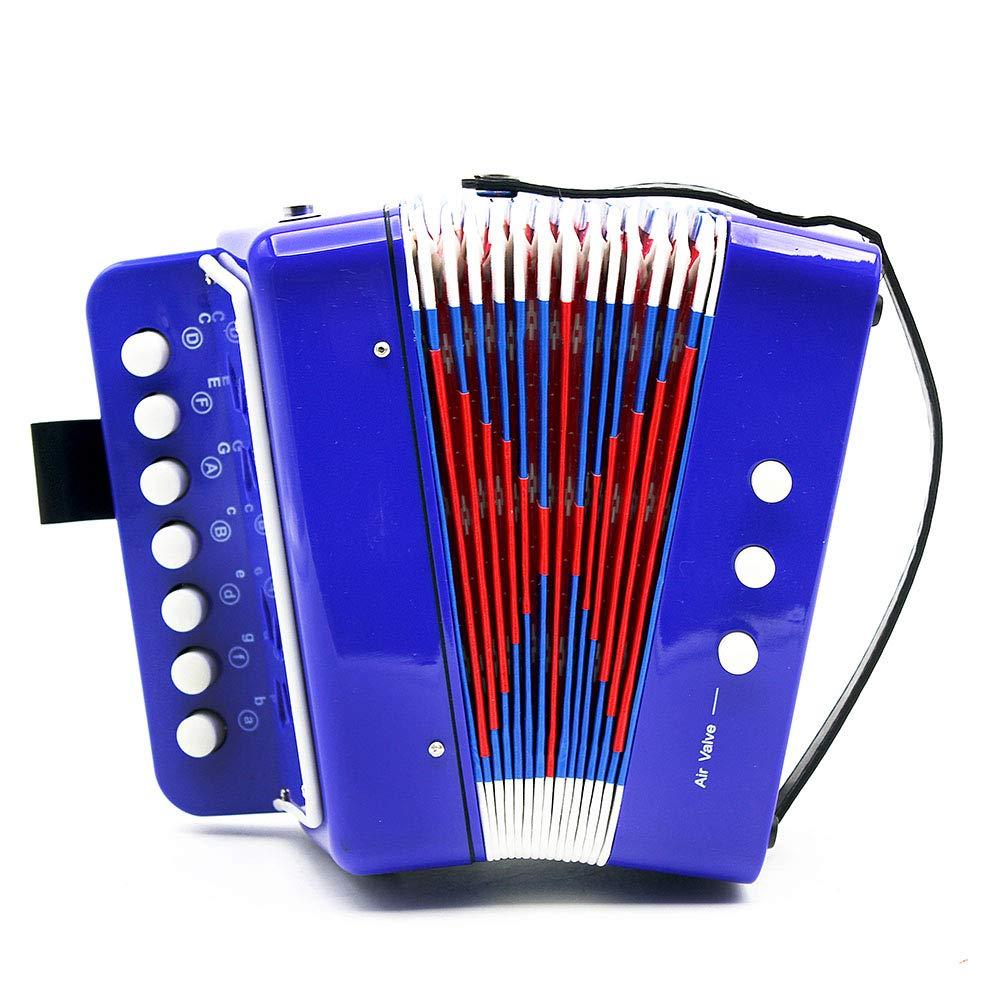 ETbotu 7-Key 2 Bass Accordion Mini Small Accordion Educational Musical Instrument Rhythm Band for Kids Blue