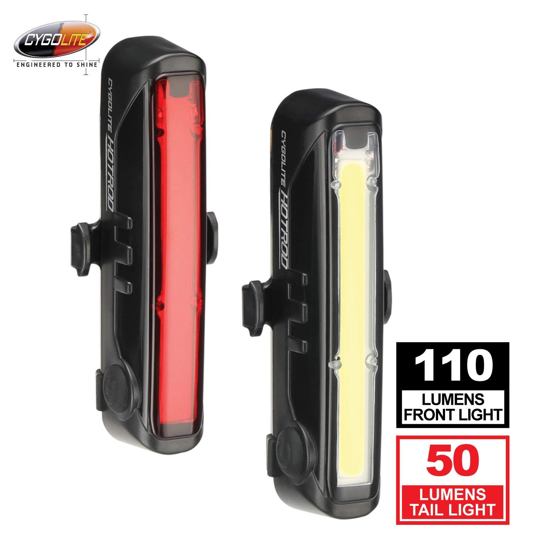 Cygolite Hotrod 110 Lumen Front Light Hotrod 50 Tail Light USB Rechargeable Bike Light Combo Set