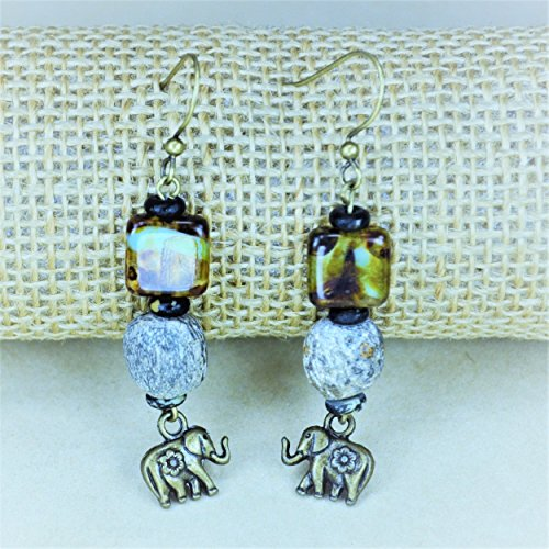 Woolly Mammoth Bone Elephant Charm Earrings (Mammoth Ivory Jewellery)