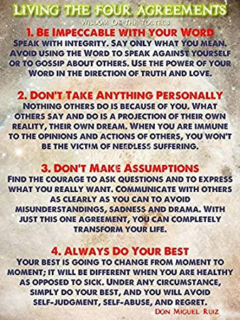 Amazon wall art print entitled living the four agreements wall art print entitled living the four agreements wisdom of the toltecs by celestial images platinumwayz
