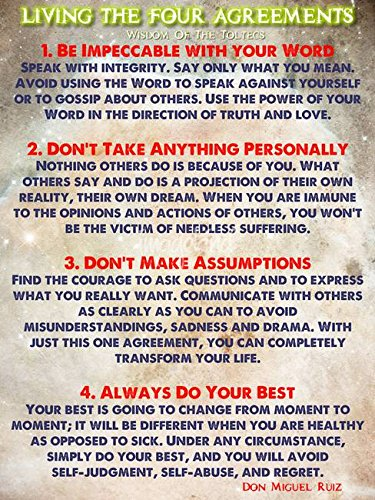 image relating to The Four Agreements Printable titled Wall Artwork Print enled Dwelling THE 4 AGREEMENTS - Knowledge Of The Toltecs through Celestial Photos 8 x 10