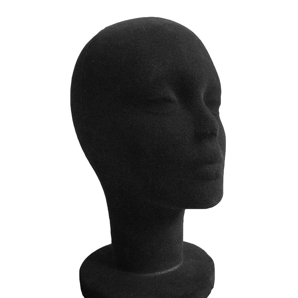 Cabeza de maniquí de espuma para hombre y mujer, con superficie de tela con bloqueo, para cascos y gorro Brussels08