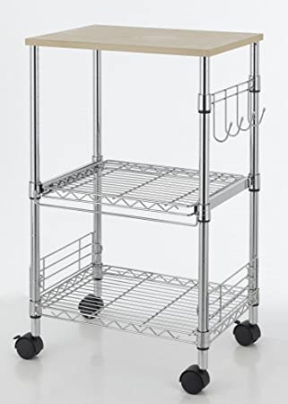 Beautiful 3 Tier Wire Rolling Kitchen Cart Utility Food Service Microwave Stand