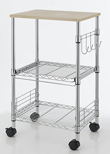 3-Tier Wire Rolling Kitchen Cart Utility Food Service Microwave Stand
