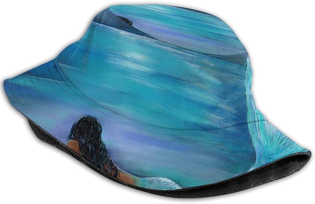 Unisex 100/% Polyester Mermaid Moon and Stars Mesh Hat Classic Mesh Back Trucker Hat for Unisex