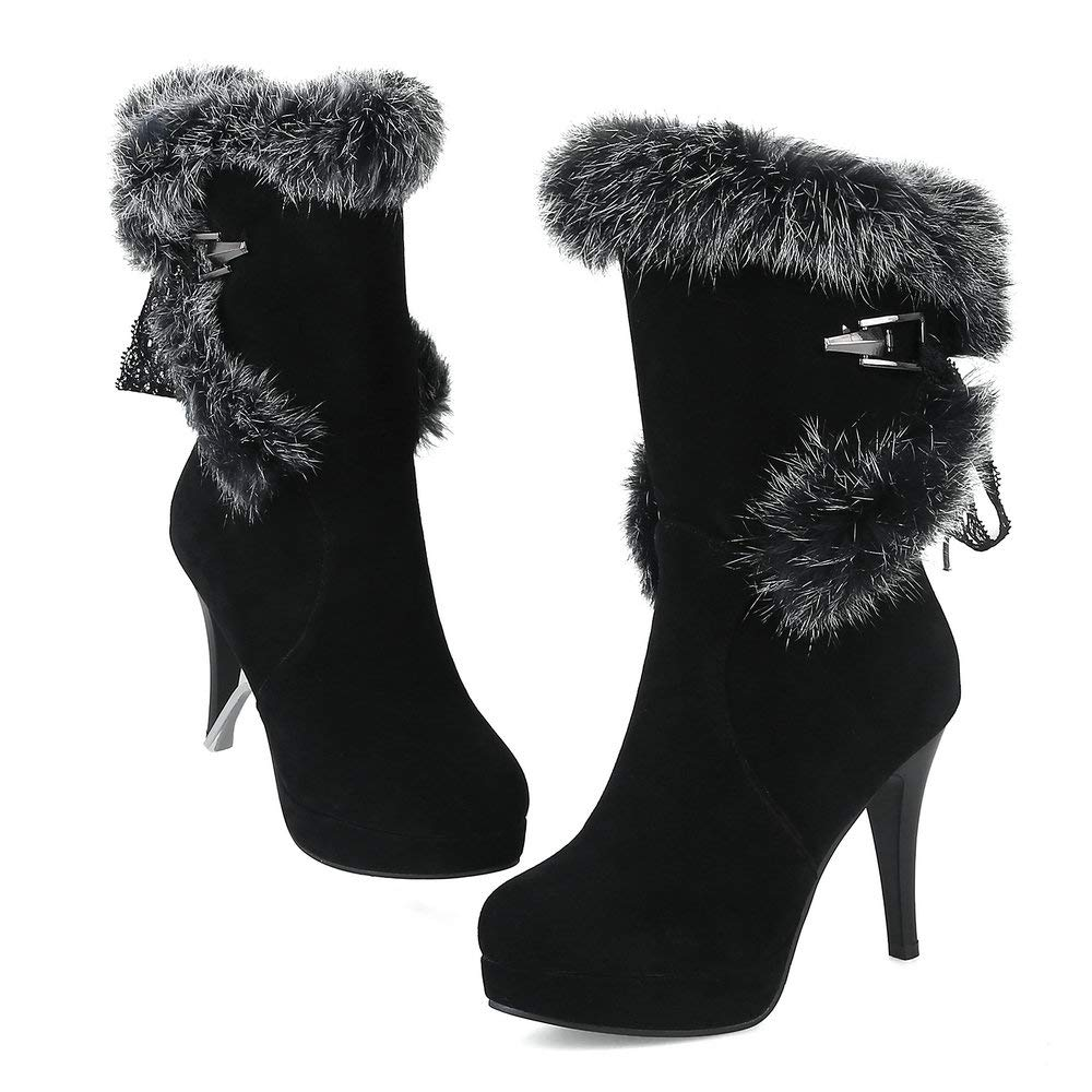 10b0cb0246a AnMengXinLing Mid Calf Snow Boots Women Sexy Stiletto High Heel Platform  Faux Suede Fluffy Fur Round Toe Lace up Winter Shoes