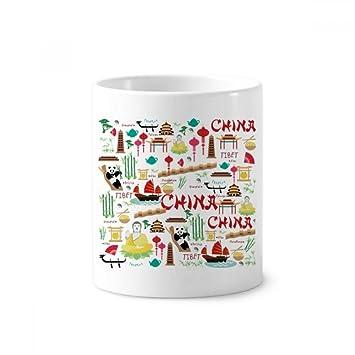Portavasos de cerámica para cepillos de dientes, diseño de panda de bambú, color blanco