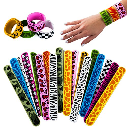 Slap Bracelets Silicone - 18 Assorted Slap Bands for Kids - Wrist Bracelets - Party Favors by Tigerdoe