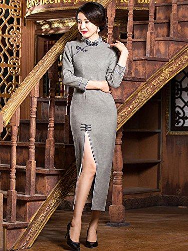 4 Women's Maxi QiPao Side 3 Dress Slit Cheongsam Sleeve Angcoco Retro Grey Elegant w6qUgwE