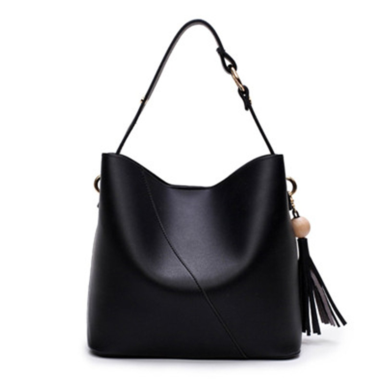 f3bc7244a28d Amazon.com  KEBINAI Designer Tassel Bucket Bag Women PU Leather Handbags  Messenger Crossbody Bag Purse Bolsa Feminina Bolsas Black27cm  Shoes