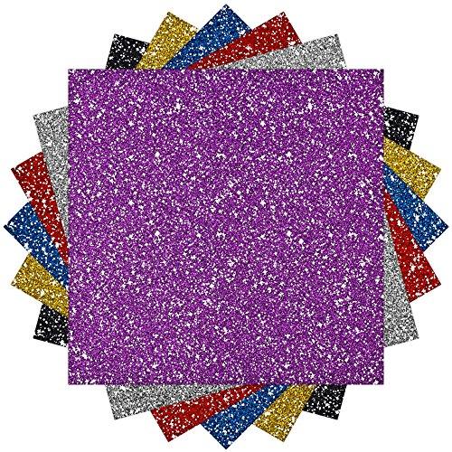 Caydo 6 Sheet Glitter Heat Transfer Vinyl Adhesive 6-Color 10mil, 10 Inch by 10 Inch (Heat Transfer Adhesive Vinyl compare prices)