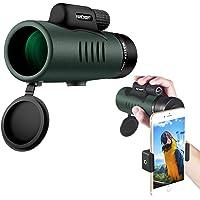 K&F Concept Jumelle Monoculaire 12X50 HD Étanche BAK4 Prisme Revêtement Vert Téléscope avec Interface Trépied pour Observation Oiseaux, Chasse, Randonnée, Concert
