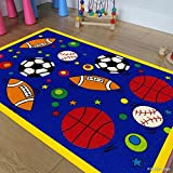 Allstar Kids Sports Football Basketball Soccer/ Baseball Rug (7' 3'' X 10' 2'')