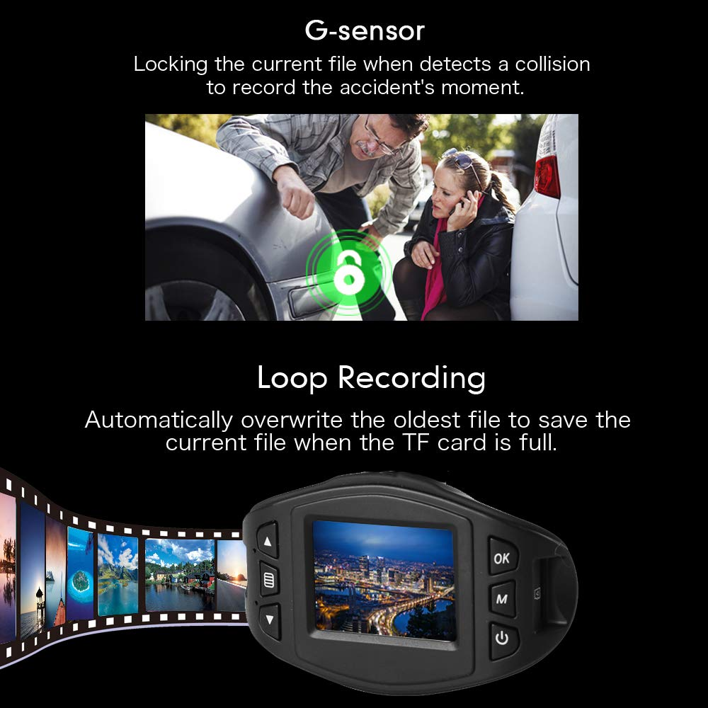 Parking Monitoring WDR 170 Wide Angle Lens SuperEye Dash Cam Car Camera DashCam 1080P Dash Camera with Sony Sensor Motion Detection G-sensor Super Night Vision Loop Recording