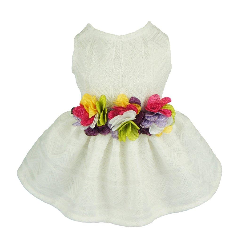 Fitwarm Elegant Floral Dog Sundress Pet Wedding Dress Vest Shirts Cat Clothes, White, Medium