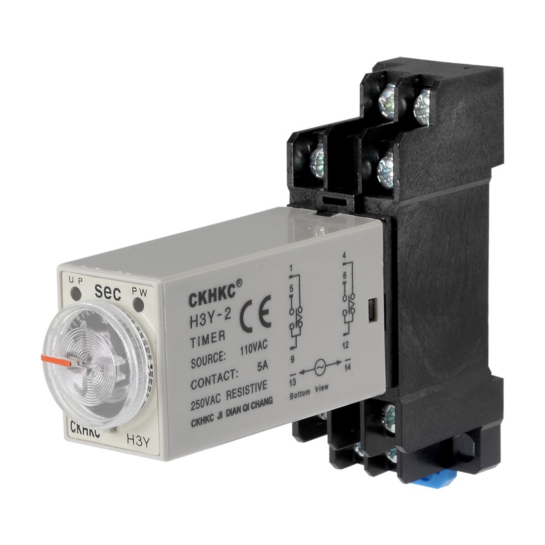 uxcell AC110V 60S 8 Terminals Range Adjustable Delay Timer Time Relay H3Y-2 with base