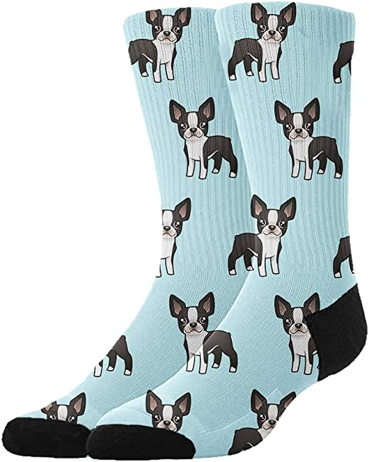 Boston Terrier Fabric Black White Crazy Socks Soft Breathable Casual Socks For Sports Athletic Running