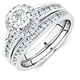 2heart 1 Carat Diamond Halo Engagement & Wedding Ring Bridal Set 14k White Gold Fn 925