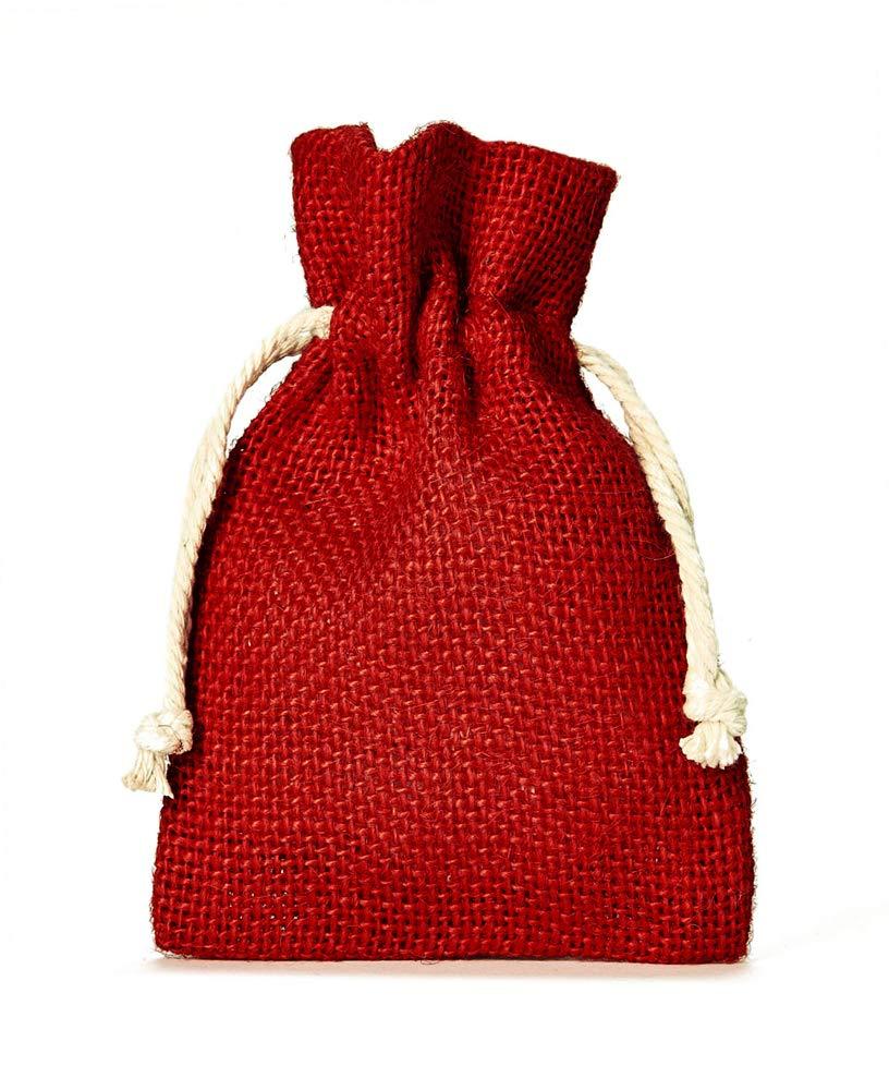 organzabeutel24 | 10 Jutesä ckchen mit Baumwollkordel, Grö ß e: 30x20 cm (Hö he x Breite), Farbe: Rot, 100% Jute, Weihnachtsverpackung, Geschenkverpackung …