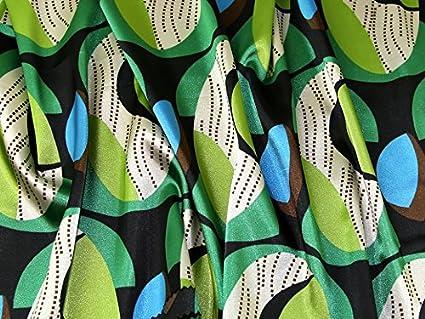 b35a65a4fadbd Amazon.com  Italian Geometric Print Stretch Satin Dress Fabric ...