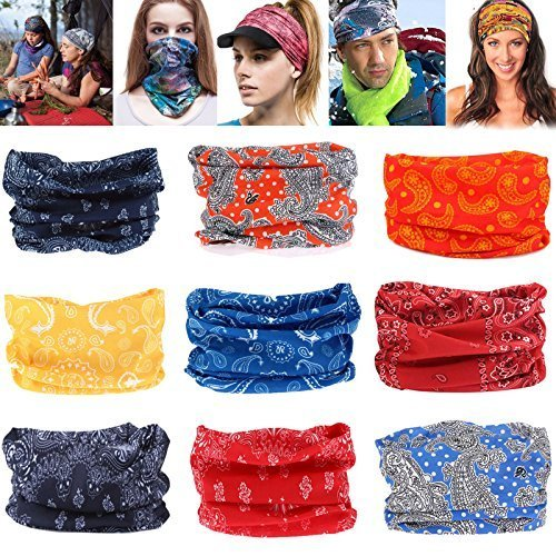Geberiela AL322 Seamless Headband Versatile 16-in-1 Stretchable Headwear Bandana Head Wrap Sweatband Scarf, Balaclava, Helmet Liner, 9 Piece -