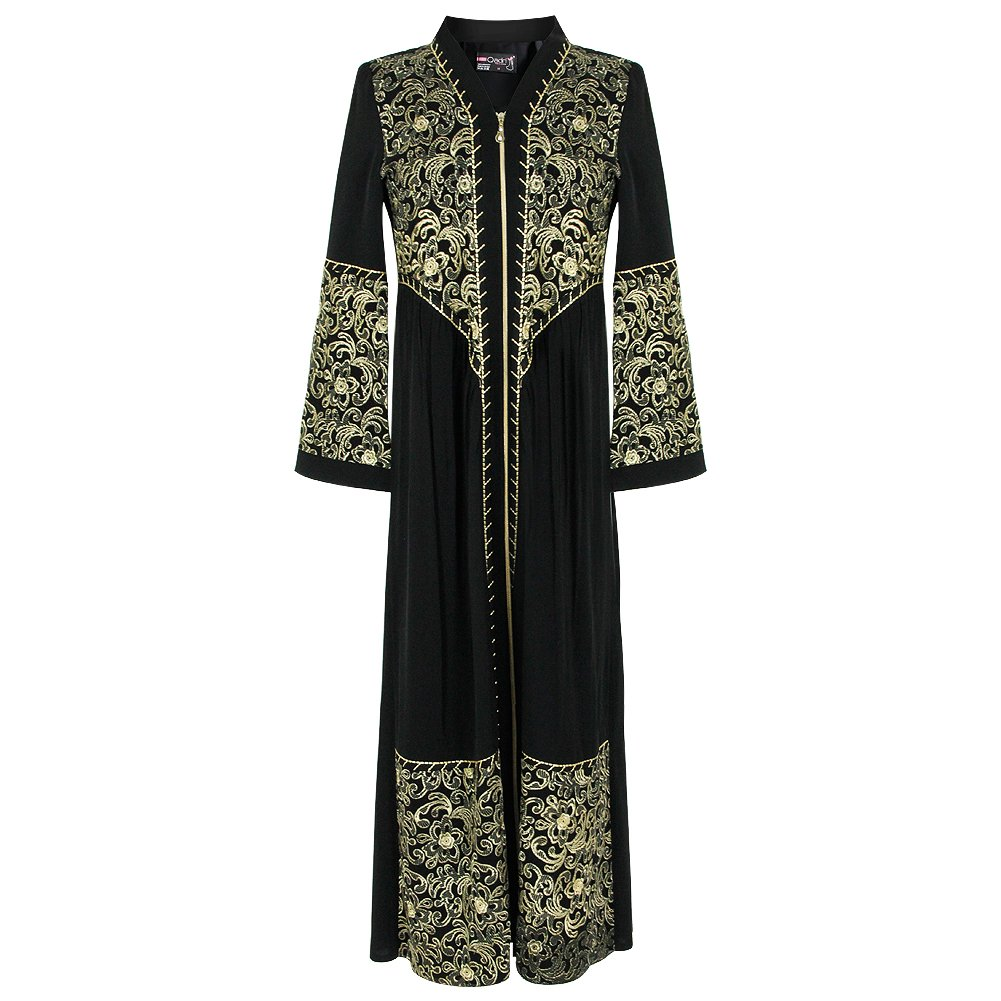 Full Body Zipper Black and Gold Embroidered Black Abaya Size 38