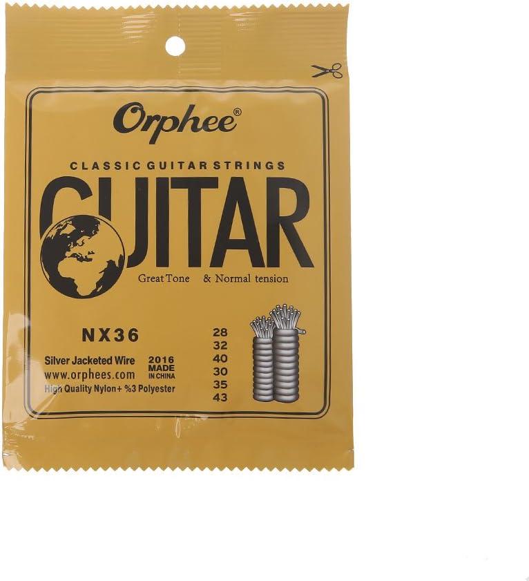 planuuik Cuerdas de Guitarra clásica Alambre de Nylon y Plateado Tensión Normal Dura NX-35/36